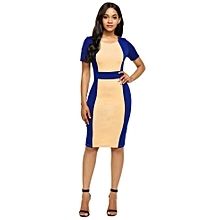 Women Short Sleeve Patchwork Package Hip Knee Pencil Dress Slim Party OL-Navy Blue