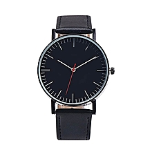 Retro Design Leather Band Analog Alloy Quartz Wrist Watch BK