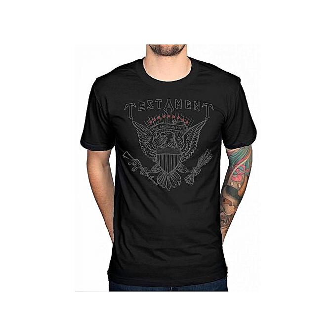 cd53ed40 Testament True American Hate T-Shirt Metal Band Music Eric Peterson Maiden  Men Fashion T