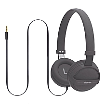 SONIC-Grey Kid Friendly On-Ear Stereo Wired Headset for Mobile, PC and Laptop