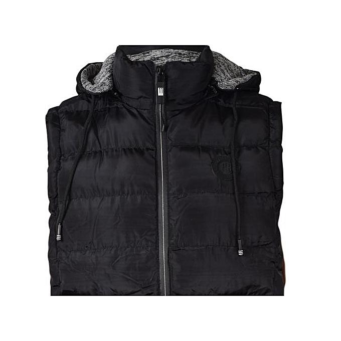 d0634a3b512fb Generic Black Sleeveless Half Puff Jacket   Best Price