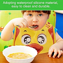 Waterproof Baby Kids Boys Girls Comfort Pocket Bib Cartoon Pattern Burp Cloths(Yellow)