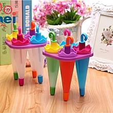 Umbrella Shape Make Frozen Juice Ice Cream Lolly Yogurt Popsicle Maker Mold 4pc