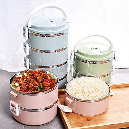 Generic 3 Tier food flask Stainless Steel Round Lunch Box