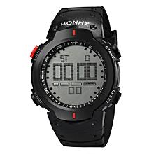 HONHX Africashop Watch  Fashion Waterproof Men's Boy LCD Digital Stopwatch Date Rubber Sport Wrist Watch-Red