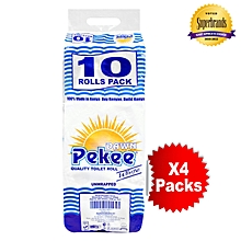Pekee 2 Ply Unwrapped White Toilet Tissue -10 x 4 Packs in a Bale