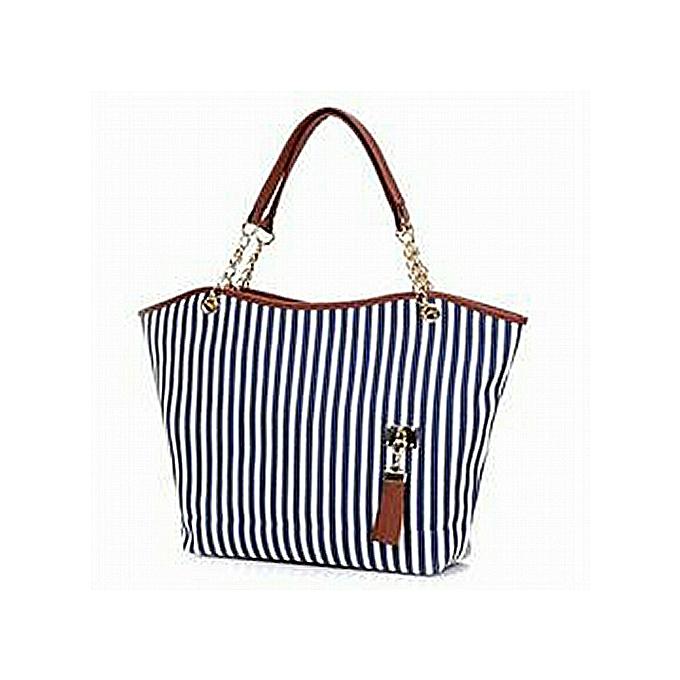 woman striped convas handbag