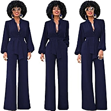 Nice Women's Jumpsuits Long Sleeve Slim Full Length Romper With Belt