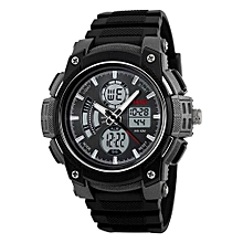1192 Sports Brand Watch Men's Digital Quartz Alarm Wristwatches Outdoor Military LED Casual Watches - Black