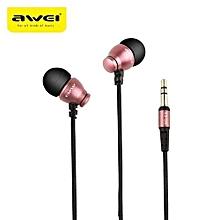 Headphone, AWEI ES-Q6 HiFi Noise Isolation Earphone Stereo Music In-ear Earphone(Rose Gold)