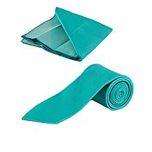 Aqua Green Men's Tie With Pocket Square/Pochette/Pocketchief
