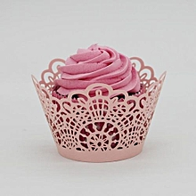 New! Lace Laser Cut Cupcake Wrapper Liner Baking Cup Muffin -Pink