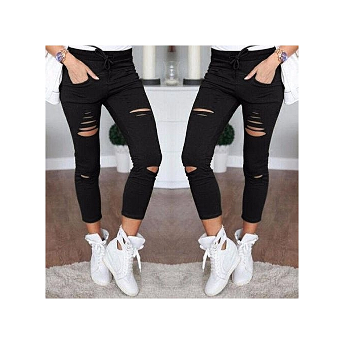 b22bf6908751 ZANZEA Women Skinny High Waist Ripped Broken-Hole Pencil Trousers Long Pants  (Black)