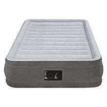 Intex Dura-Beam Comfort Plush Mid Rise Air Bed Single (Twin) Size with Built-in Electric Pump