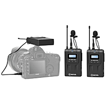 BOYA BY-WM8 Pro Dual-Channel 48CH UHF Wireless Microphone System with Transmitter and Receiver for DSLR Cameras and Video Cameras (Black)