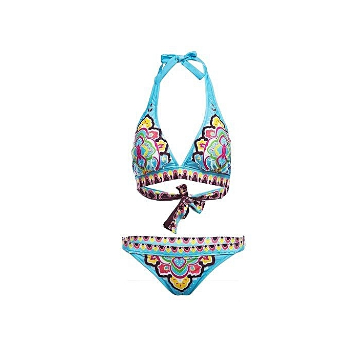 121ba8616e Fashion Retro Halter Printed Low Waist Two Piece Bikini Set - Blue ...