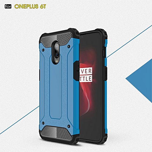 newest b6505 b83b5 For Oneplus 6T Back Cover Oneplus6t Full Protect Phone Bag Cases For One  Plus 6t Luxury 2in1 Armor For Oneplus 6T (Blue)
