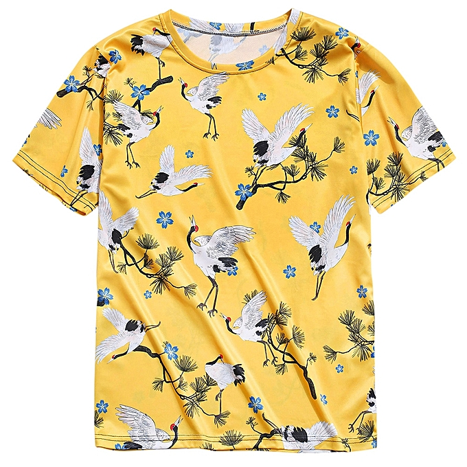a92642dcf857 ZAFUL Cranes Print Short Sleeve T Shirt-YELLOW @ Best Price | Jumia ...