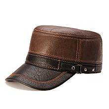 Unisex PU Leather Earflap Ear Muffs Baseball Cap Polar Fleece Linen Adjustable Golf Hat