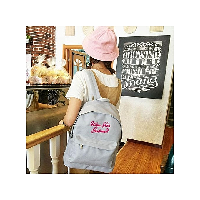 Neworldline Women Lady Canvas School Bag Girl Cute Backpack Travel GY-Gray 88edc0f777a06