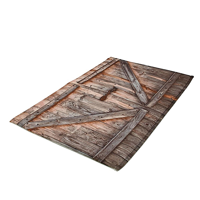 72X72 Rustic Wooden Barn Door Shower Curtain Bathroom Decor Waterproof