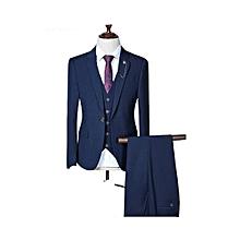 Navy Regular Men Wool 3 Piece SLIM FIT, One Button Wedding Suit-SENJEH