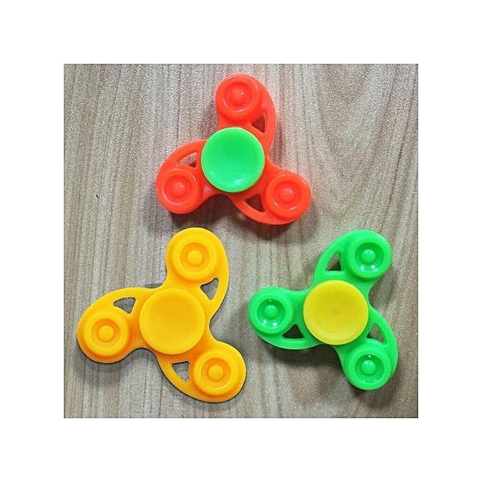 1Pc Plastic Tri Fidget Desk Toys Hand Spinner Focus Kids Development Toy Random (Random Color