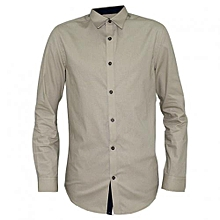 Beige Men's Buttoned Down Long Sleeved  Shirts