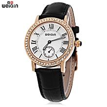 W4812E Female Quartz Watch Luminous Artificial Diamond Dial Genuine Leather Band Water Resistance Wristwatch-BLACK
