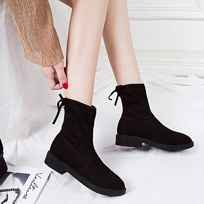 Buy Fashion Short Boots Low Heel Women Boots Black Best Price