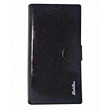 S6 - Leather Flip Cover - Black