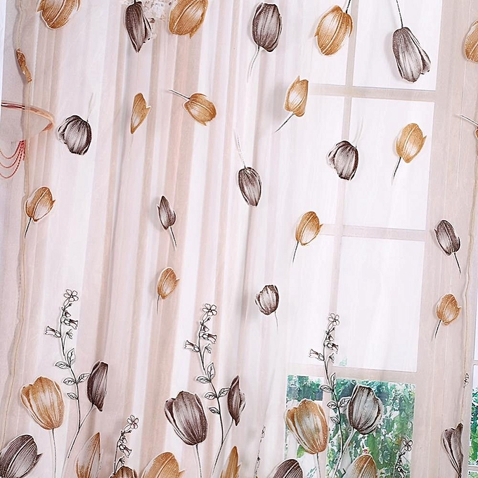 ... 100*200cm Tulips Printing Tulle Curtains Sheer Drape Orange ...