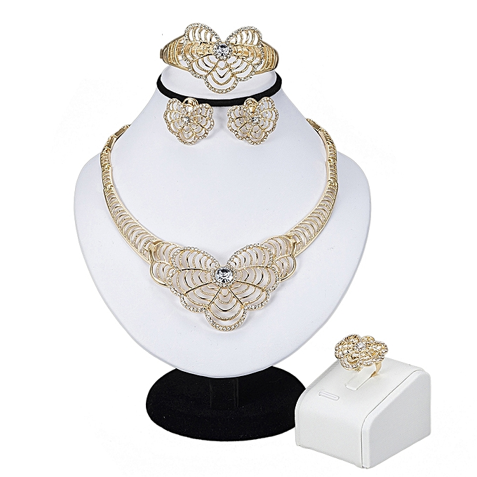 Gold Wedding Jewelry Sets For Brides,Indian Gold Plated Necklace Earrings Bracelet Ring Sets