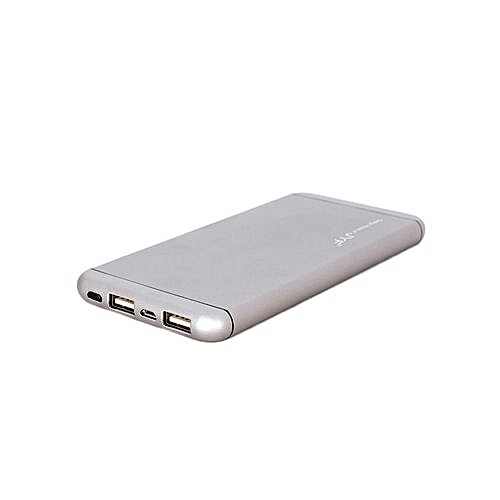 Power Bank -  20,000 mAh - Super Slim Design With Polymer Battery - Silver Grey