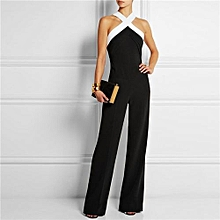 Hot Sale Halter Long Jumpsuits Cross Sleeveless Bodycon Rompers Catsuits Playsuits-black