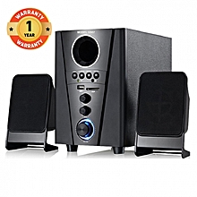 V007 2.1CH Multimedia Speaker System - Black with FM Radio, Built-in amplifier,  SD Card Slot and USB device playback