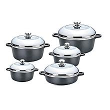 Brilliant Non-Stick Cooking Pots glass lids - 10 Pieces - Grey