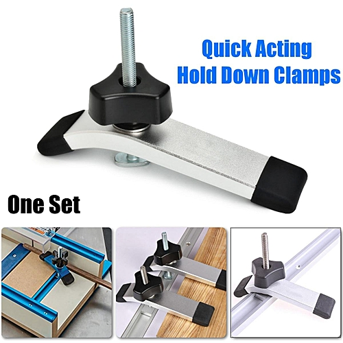 Metal Quick Acting Hold Down Clamps Set for T-Slot T-Track Woodworking Tools