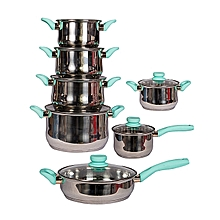 12Pcs Stainless Steel Cookware + 6 FREE Tablespoon- Silver