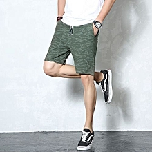 Men's Summer Casual Shorts Men 95% Cotton Straight Shorts New Male Solid Short Pants Large Size Beach Shorts-GREEN