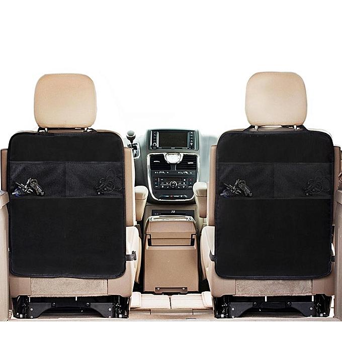 Car Seat Back Protector Kick Mat With Nylon Mesh Pockets Set Of 2