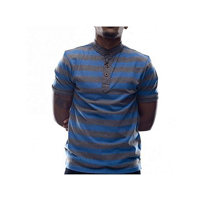 Grey/Blue Mens Striped Mandarin Collar T-shirts