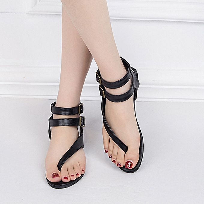 88f0acaa0cf79 ... Women Summer Strappy Gladiator Low Flat Heel Flip Flops Beach Sandals  Shoes ...