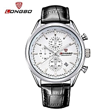 Watches, 80179 Fashion Men Movement Quartz Watches Leather Strap Wristwatches Mineral Reinforced Glass Stainless Steel Dial Auto Date - Black