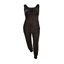 Black Sleeveless Plain Jumpsuit