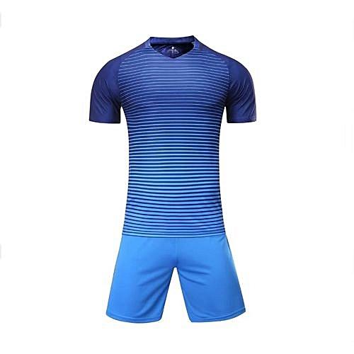 Longo Customized Blank 2018 New Fashion Kids And Men s Football Soccer Team  Sports Jersey Set-Blue 54bba5fd4