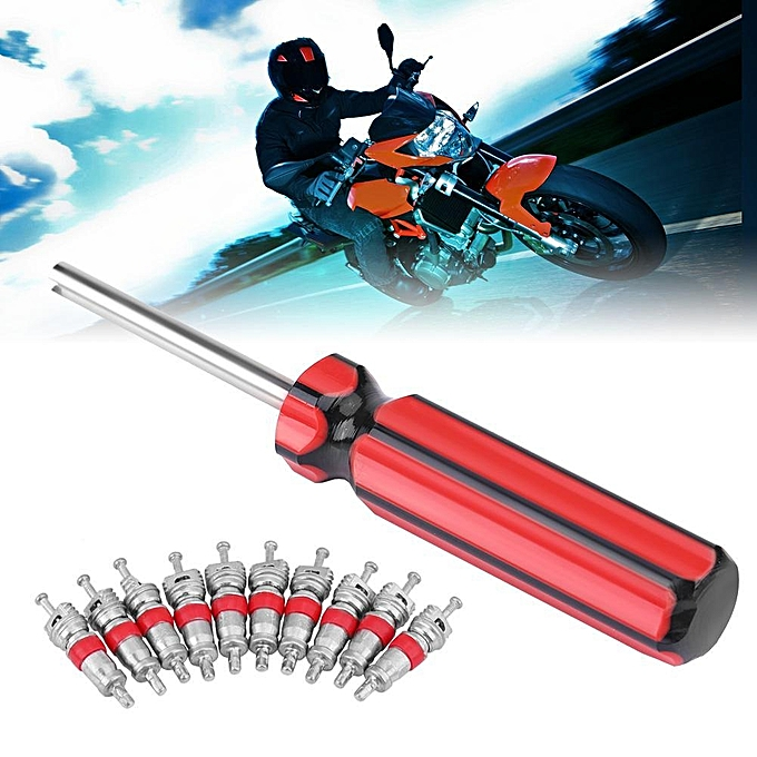 Motorcycle Wheel Tire Valve Core 10 Pcs with Remover Tool Repair Removal Kit