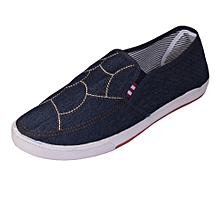 Blue denim webbed shoes with rubber sole