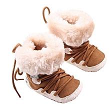 bluerdream-Baby Winter Soft Sole Crib Warm Flats Boot Toddler Prewalker Shoes KH12-khaki