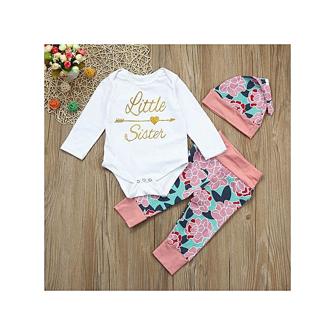 c3cda92c86584 Baby Outfit Newborn Infant Baby Letter Romper Tops+Deer Pants+Hat 3Pcs  Outfits Clothes